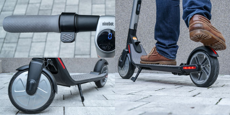 Ninebot ES2 e-Scooter (by Segway) - vorne elektrische Bremse mit Hebel, hinten manuelle Bremse