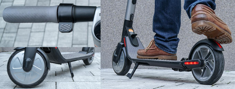 Ninebot ES2 - vorne: elektrische Bremse, hinten: mechanische Bremse