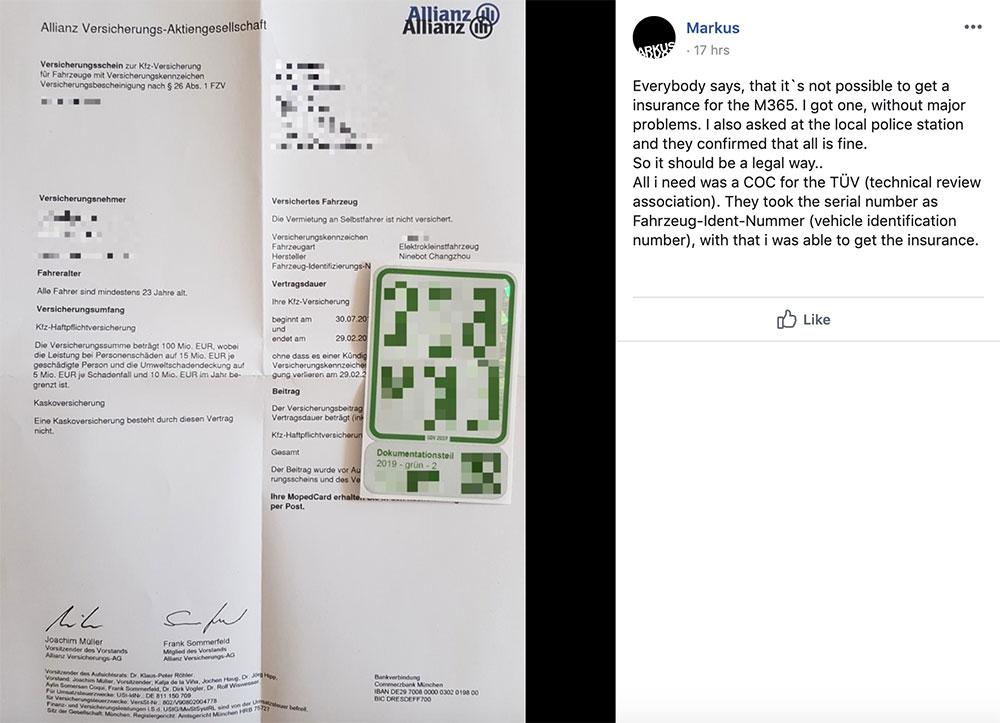 Wie bekommt man in Deutschland eine Zulassung für Xiaomi M365 Scooter