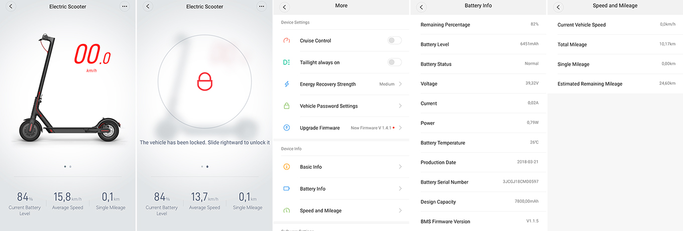 Xiaomi Scooter - Mi Home App (iOS & Android)